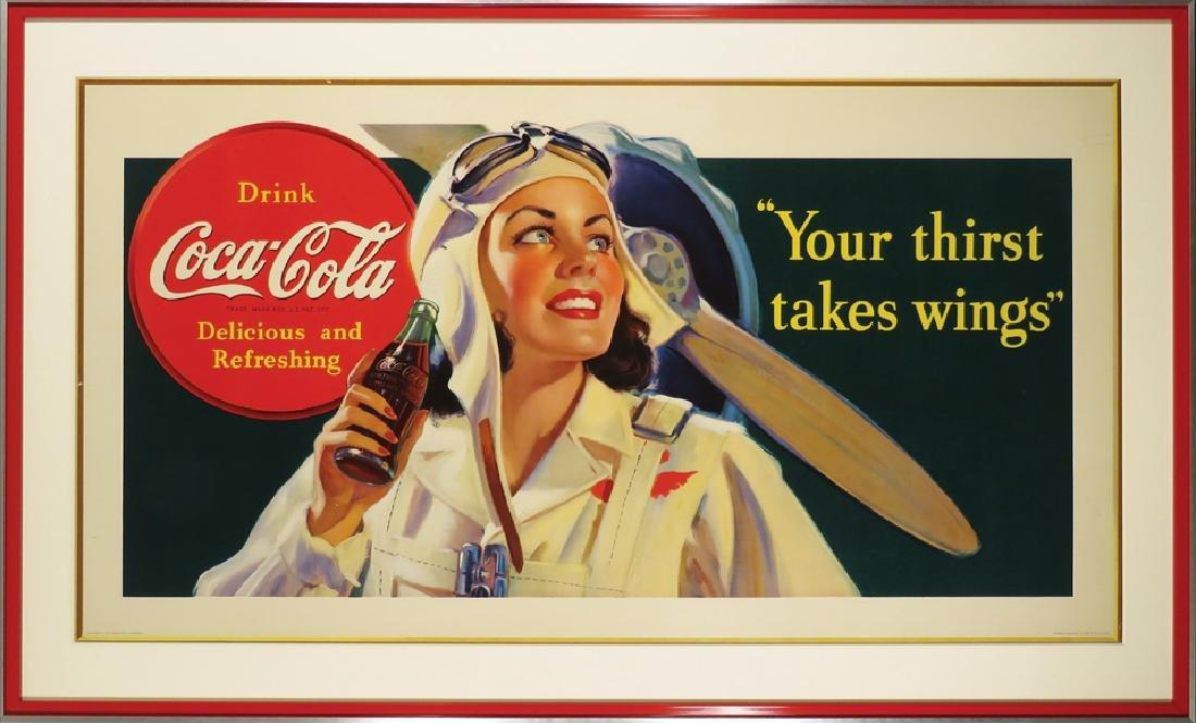 1940 Coca Cola Lady Pilot Cardboard Sign - 2