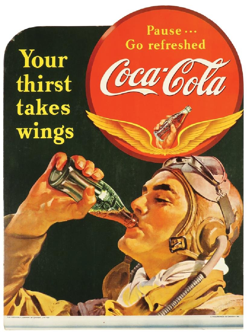 1941 Coca Cola Die Cut Cardboard Poster