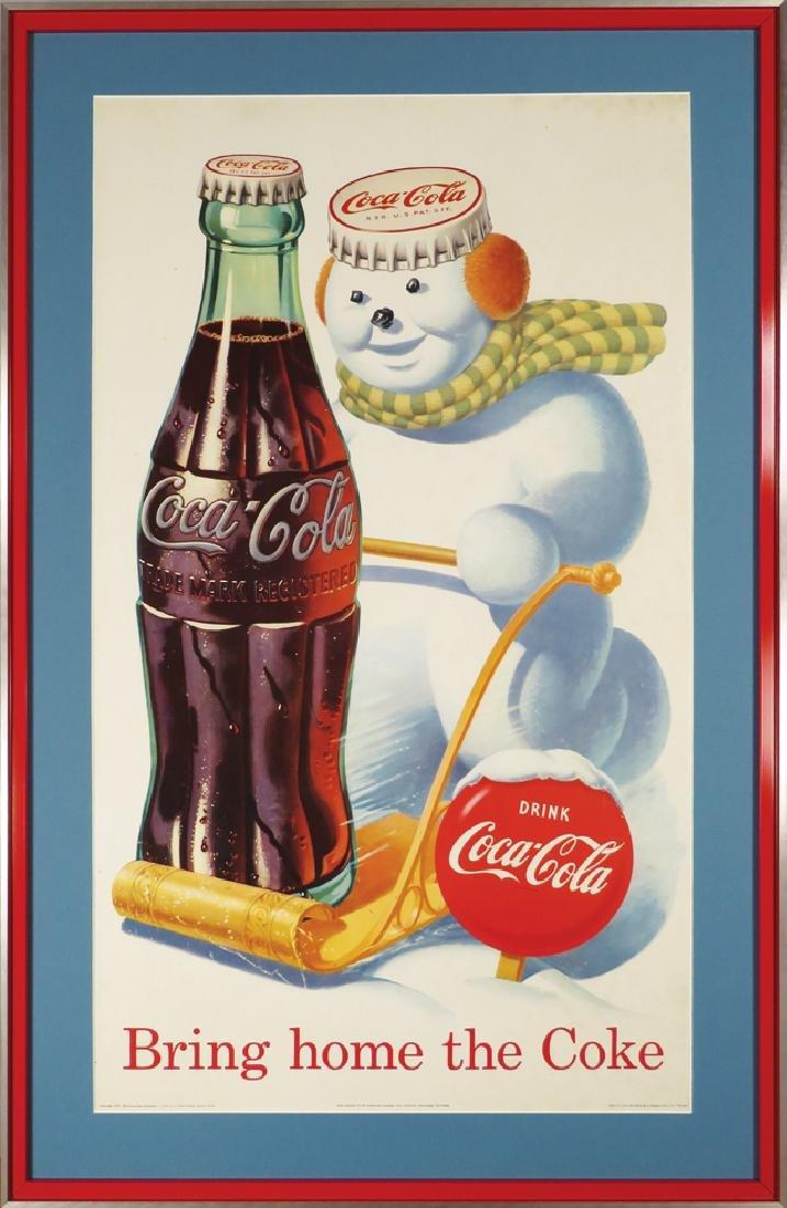 1957 Coca Cola Snowman Cardboard Poster