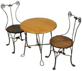Childs Chicago Wire Table and Two Chairs