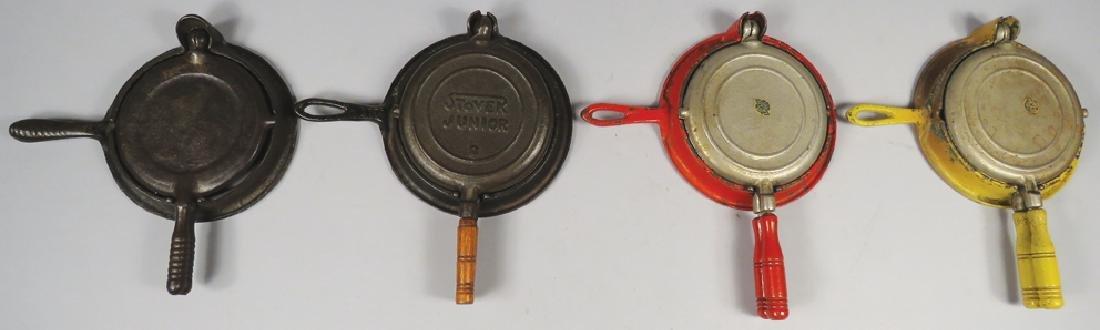 Four Cast Iron Toy Waffle Irons