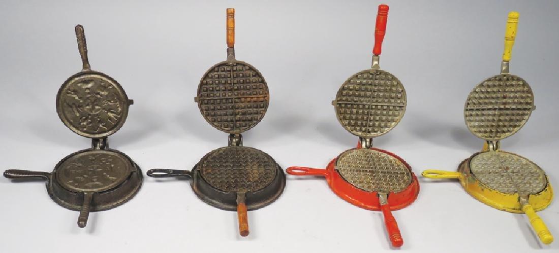 Four Cast Iron Toy Waffle Irons - 2