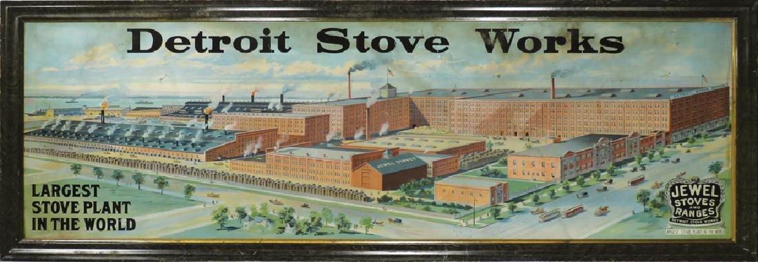 Detroit Stove Works Self Framed Tin Sign