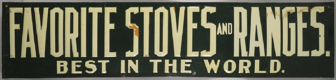 Favorite Stoves and Ranges Embossed Tin Sign