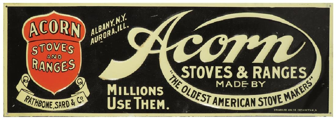 Acorn Stoves and Ranges Embossed Tin Sign