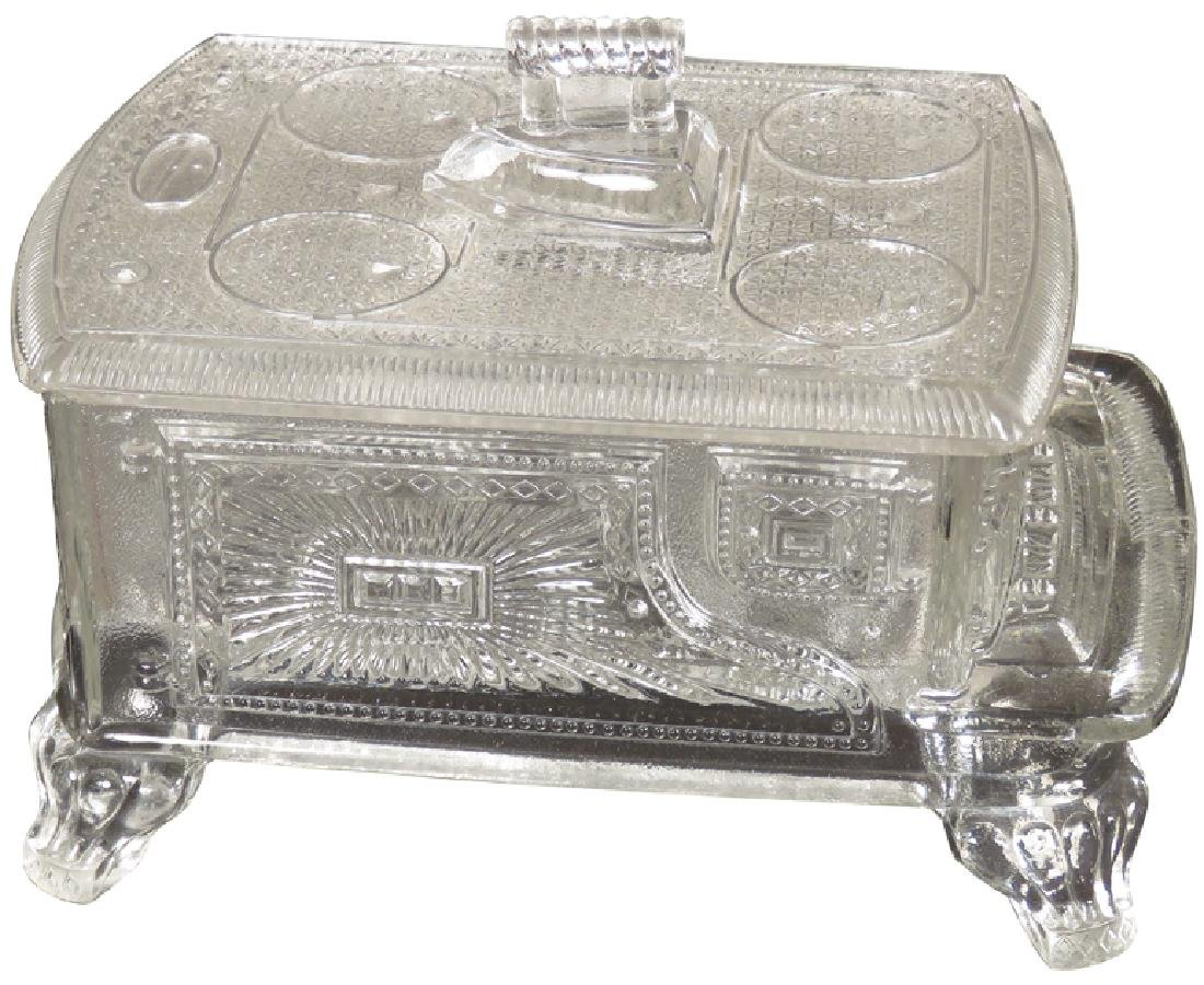 Pressed Glass Figural Stove Candy Container