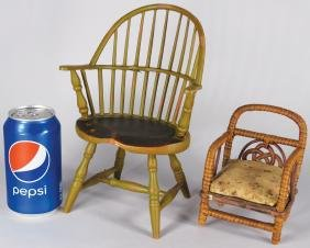 Two Early Doll Furniture Chairs