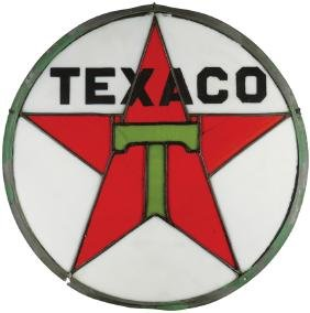 """Texaco Leaded Glass """"Sign of the Star"""" Sign"""