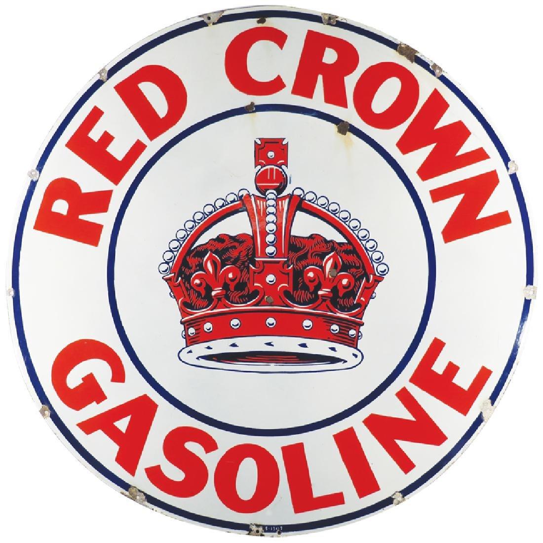 Crown Gasoline Porcelain Sign