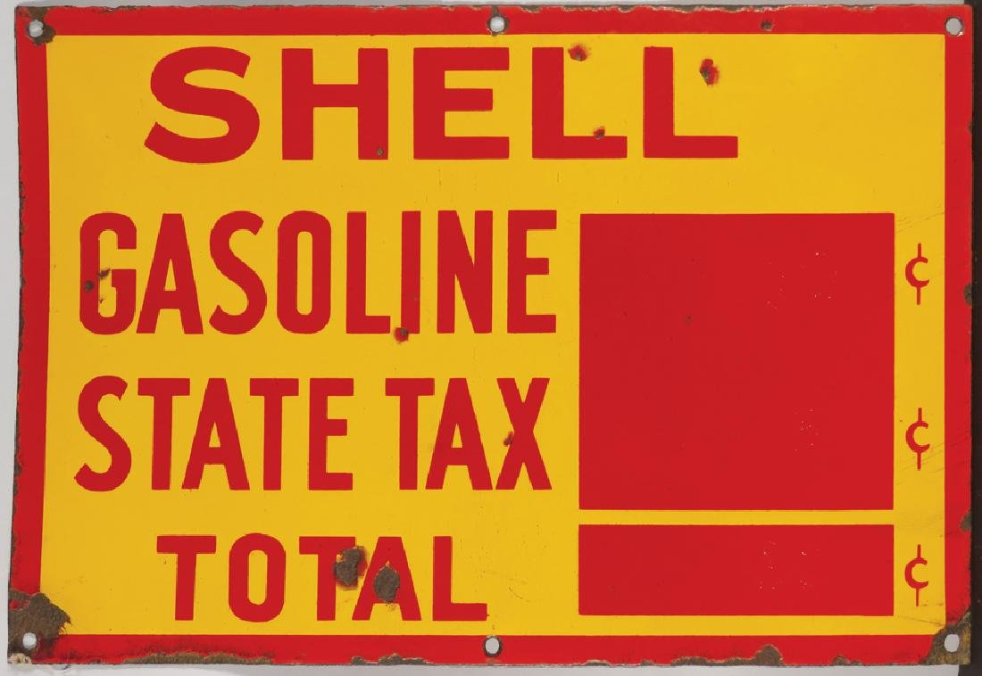Shell Gasoline State Tax Porcelain Sign