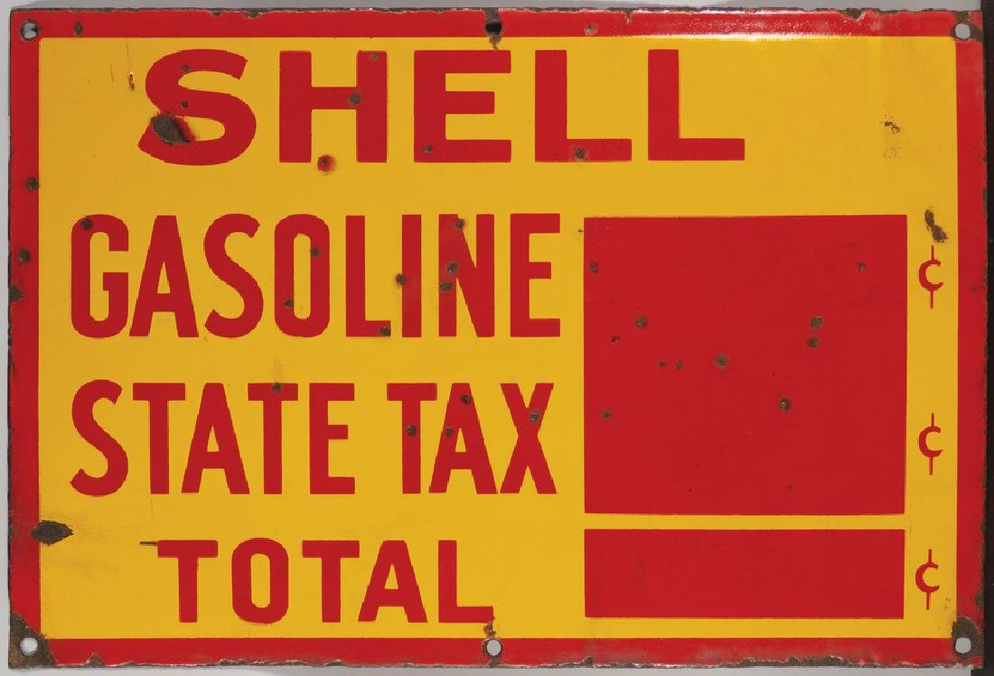 Shell Gasoline State Tax Porcelain Sign - 2
