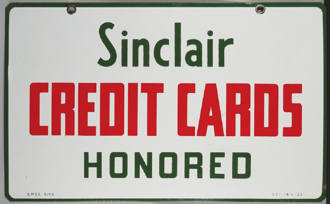 Sinclair Credit Cards Honored Porcelain Sign