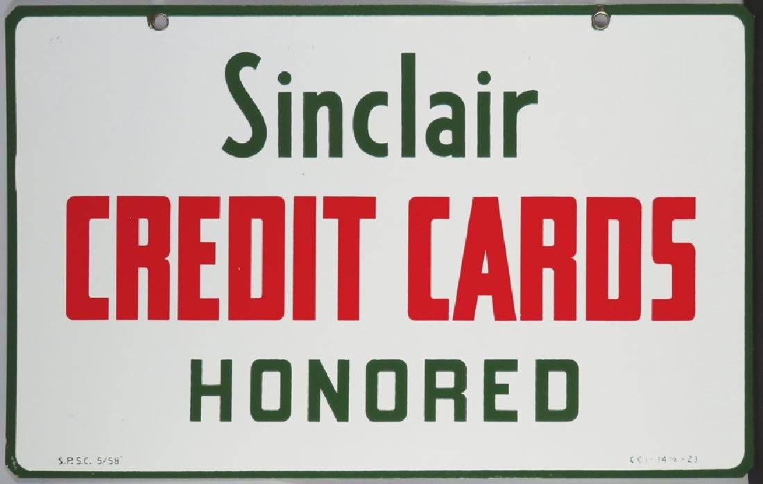 Sinclair Credit Cards Honored Porcelain Sign - 2