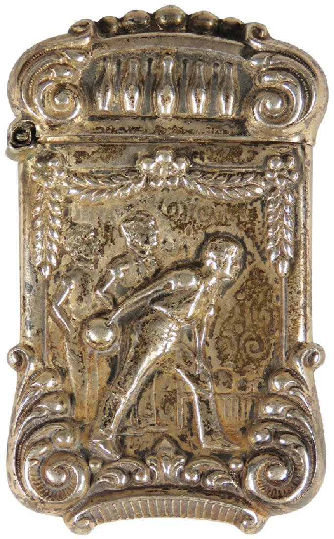 High Relief Sterling Silver Match Safe, Bowler