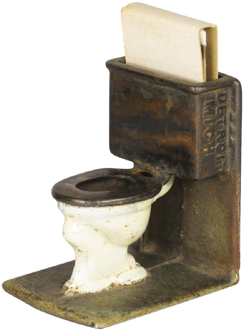 Cast Iron Figural Match Holder, Toilet