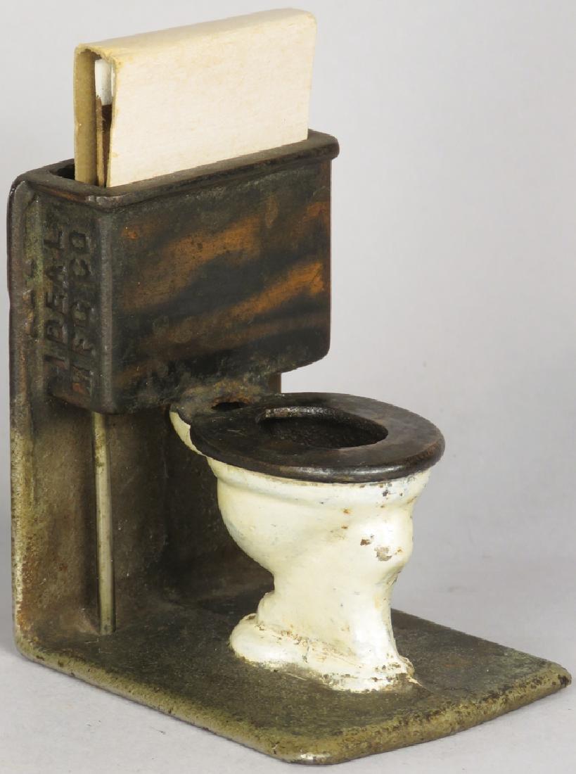 Cast Iron Figural Match Holder, Toilet - 2