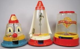 Three Plastic Novelty Gumball Machines