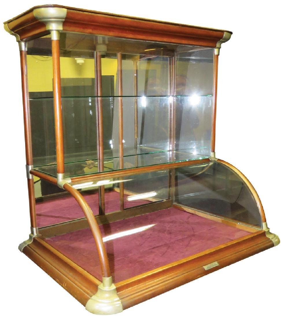 Oak Tower Curved Glass Showcase