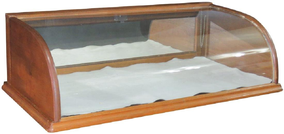 Oak Curved Glass Counter Top Showcase