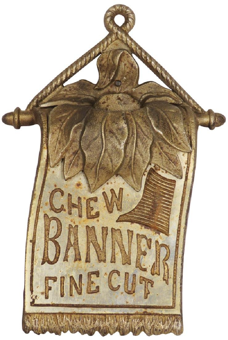 Cast Iron Banner Tobacco Sign