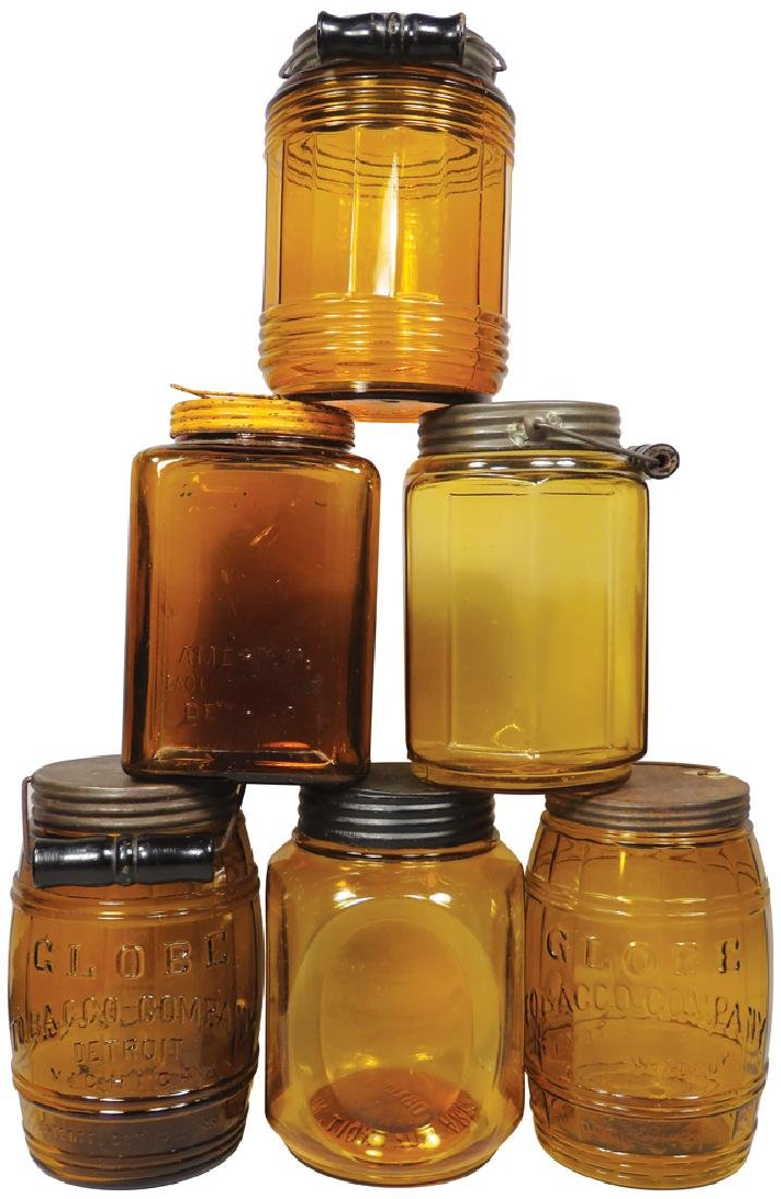 Collection of Detroit Amber Tobacco Jars