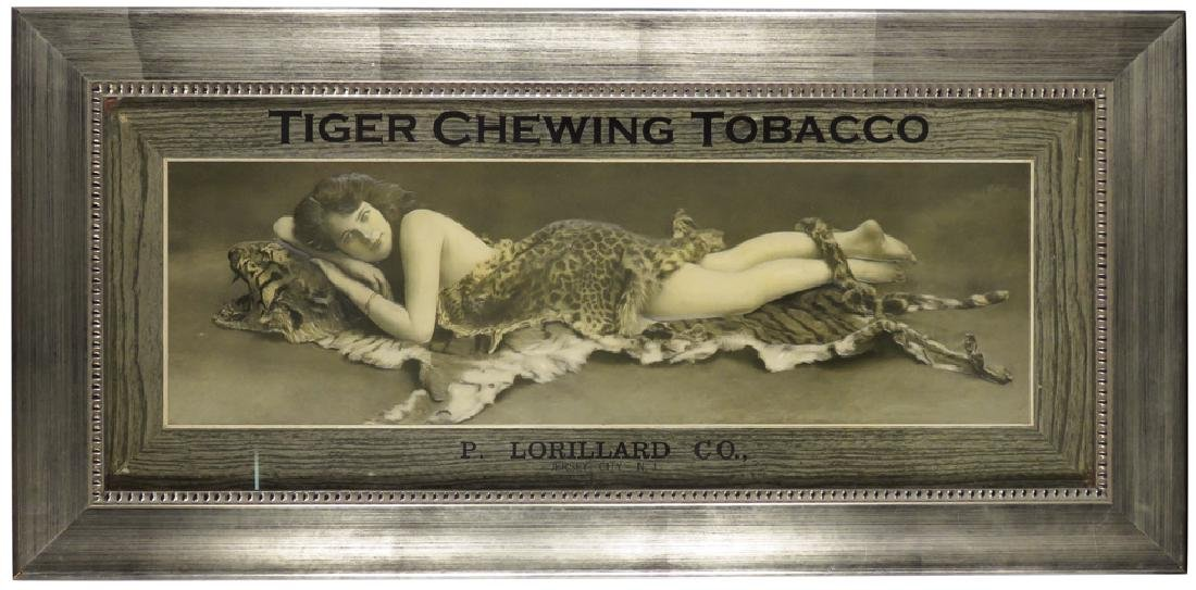 Tiger Chewing Tobacco Cardboard Sign
