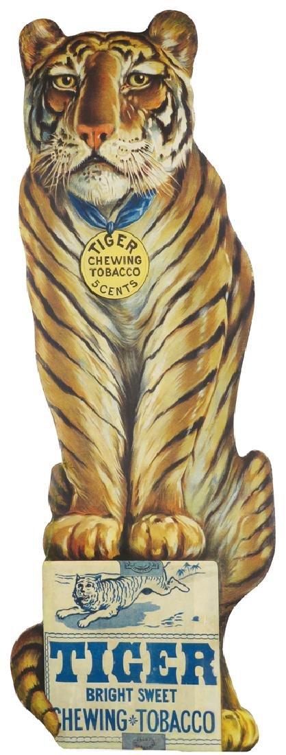Tiger Chewing Tobacco Die Cut Cardboard Sign