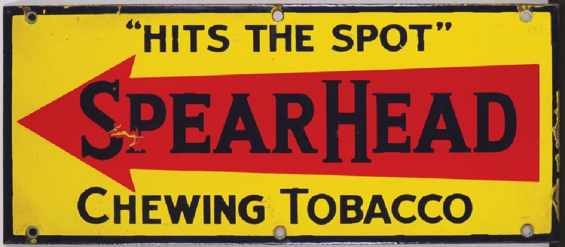 SpearHead Chewing Tobacco Porcelain Sign