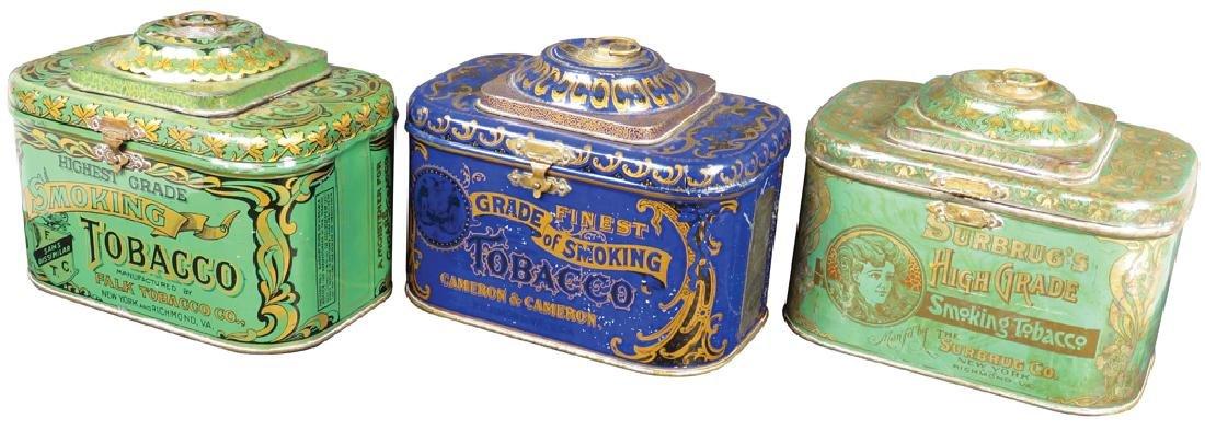 Three Dome Top Smoking Tobacco Tins