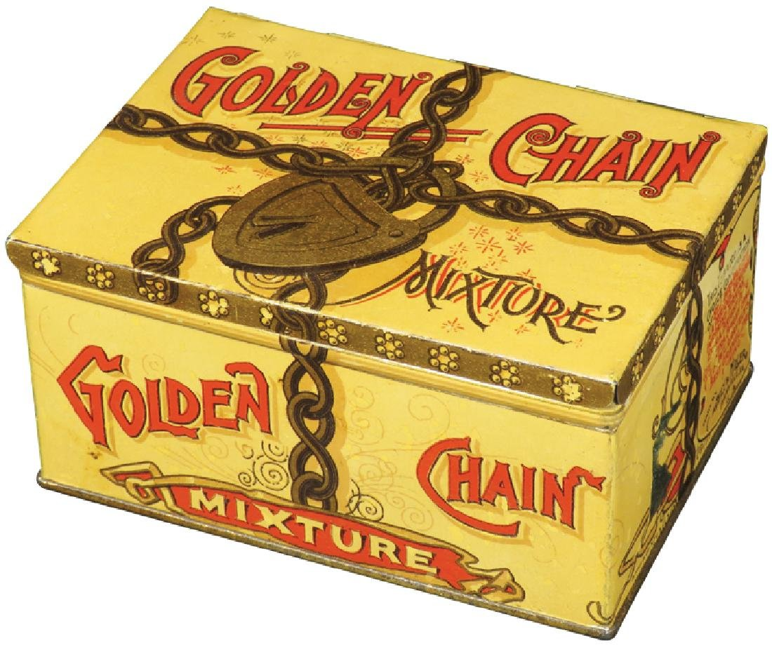 Golden Chain Square Corner Tobacco Tin