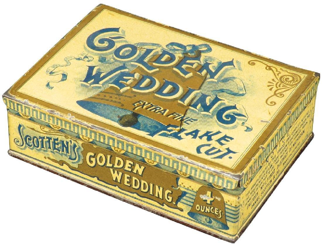 Golden Wedding Square Corner Tobacco Tin
