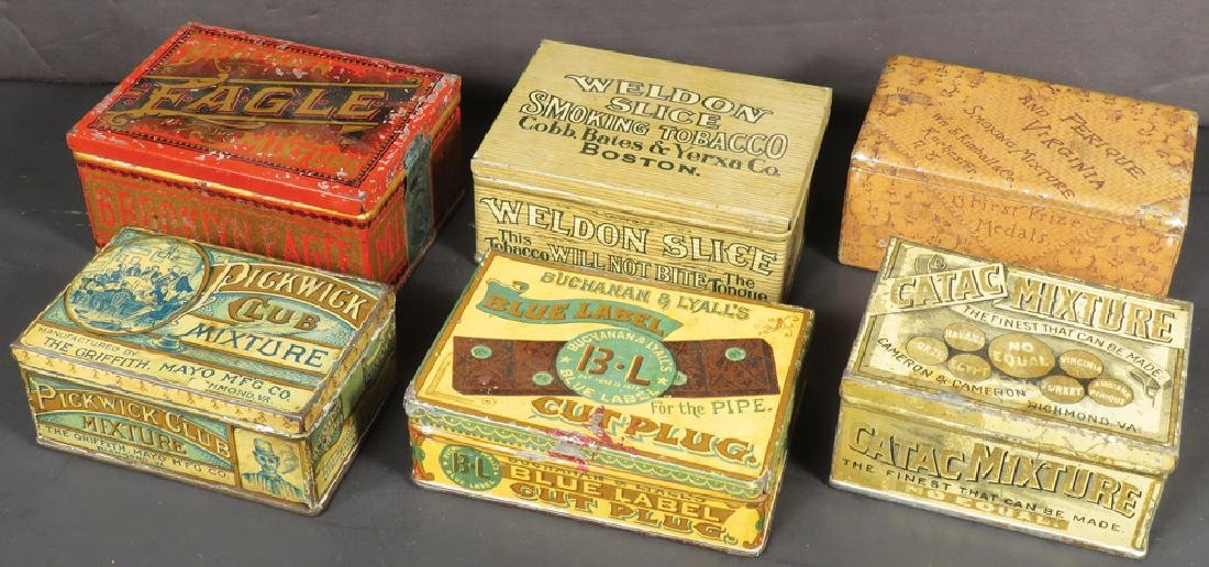 Six Square Corner Tobacco Tins