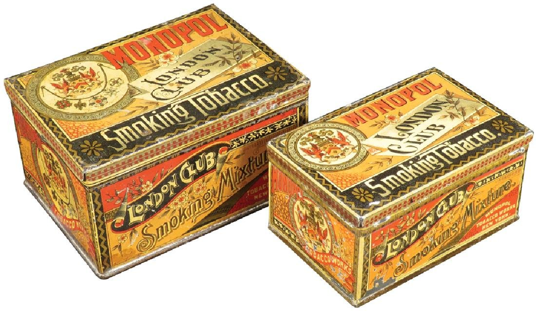 Two London Club Square Corner Tobacco Tins