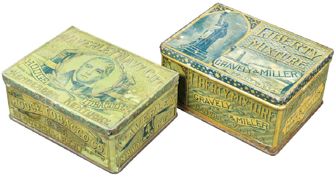 Two Square Corner Tobacco Tins