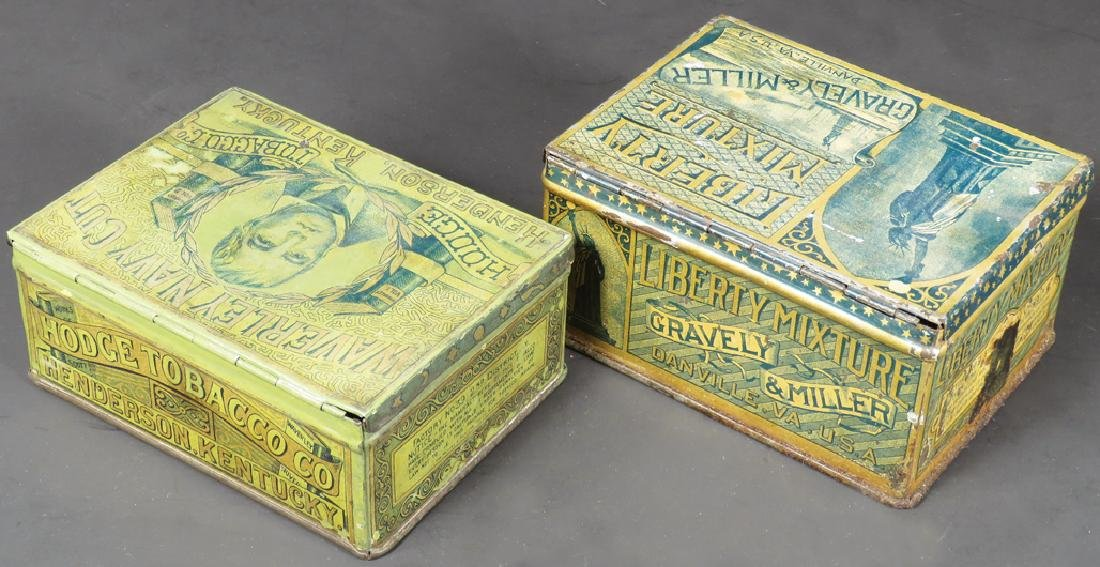 Two Square Corner Tobacco Tins - 2