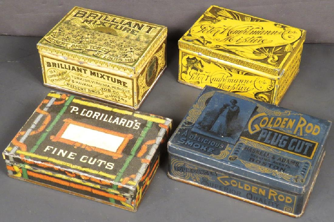 Four Square Corner Tobacco Tins