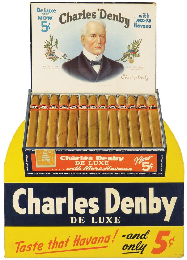 Charles Denby Cigars Die Cut Cardboard Sign