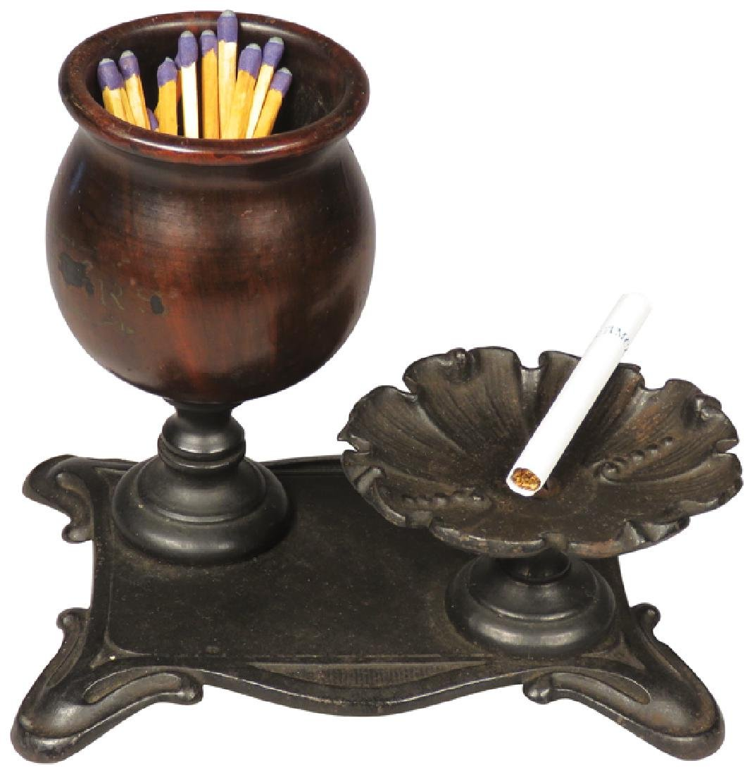Cast Iron and Wood Smoking Stand