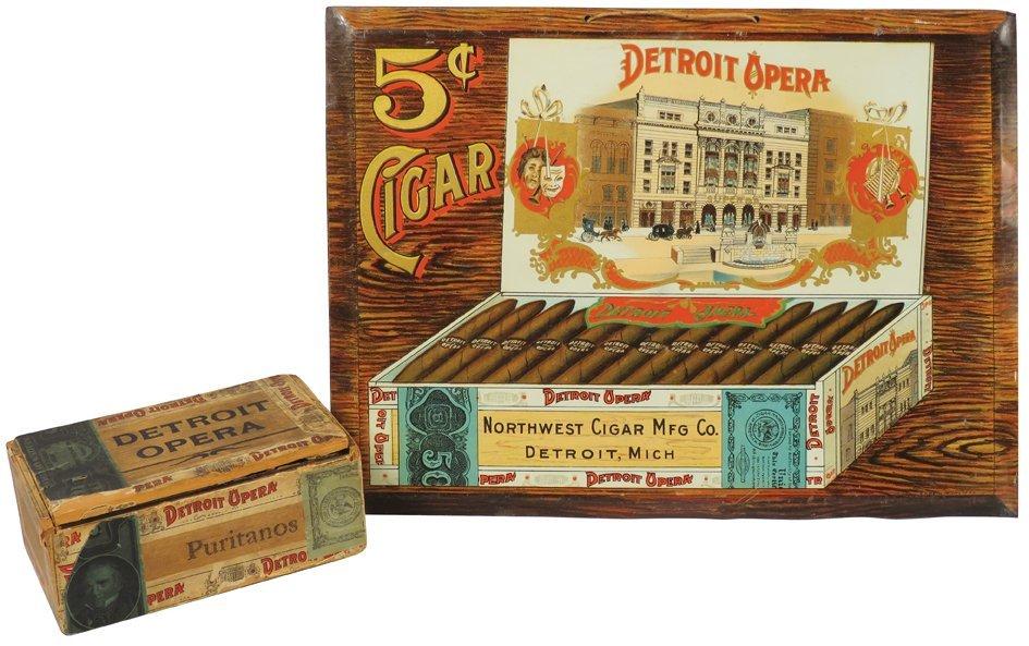 Detroit Opera Cigars Tin Sign and Box