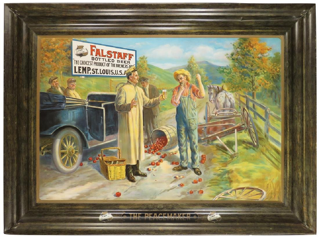Falstaff Bottled Beer Self Framed Tin Sign