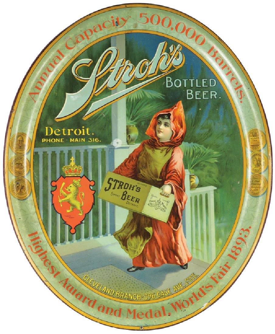 Stroh's Bottled Beer Tin Serving Tray
