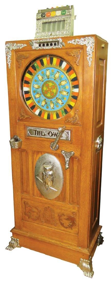 Mills Owl 5 Cent Upright Slot Machine, cA 1897