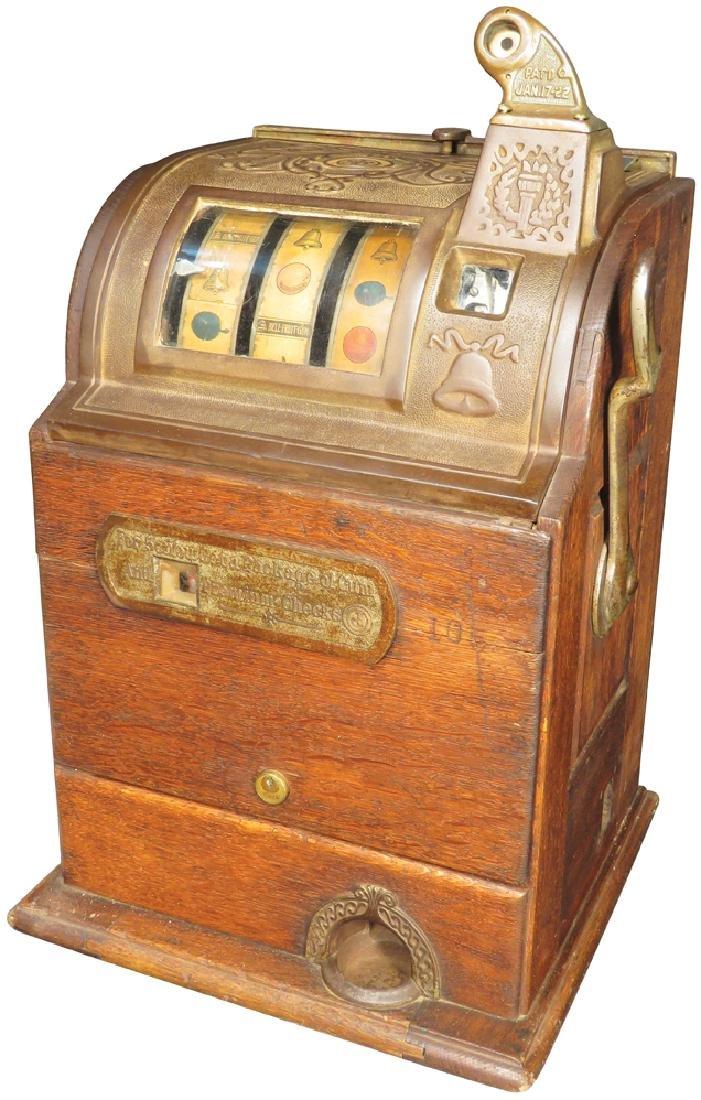 Jennings 5 Cent Slot Machine w/Oak Cabinet