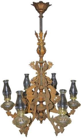 1800's Six Lamp Saloon Chandelier