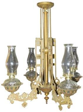 1800's Four Lamp Saloon Chandelier