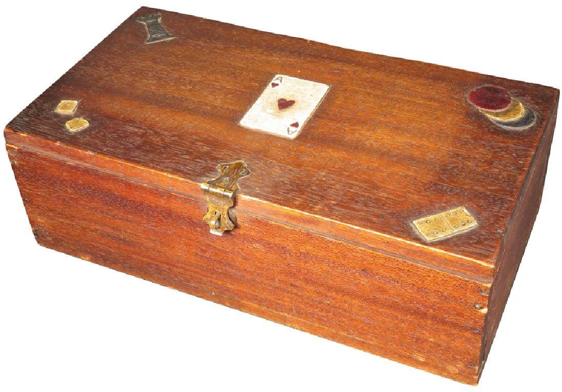 Gambler's Box with Card Motif on Lid