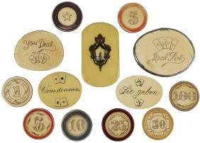 Rare Collection of Scrimshaw Gambling Chips