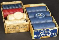 Two Boxes of Early Clay Gambling Chips