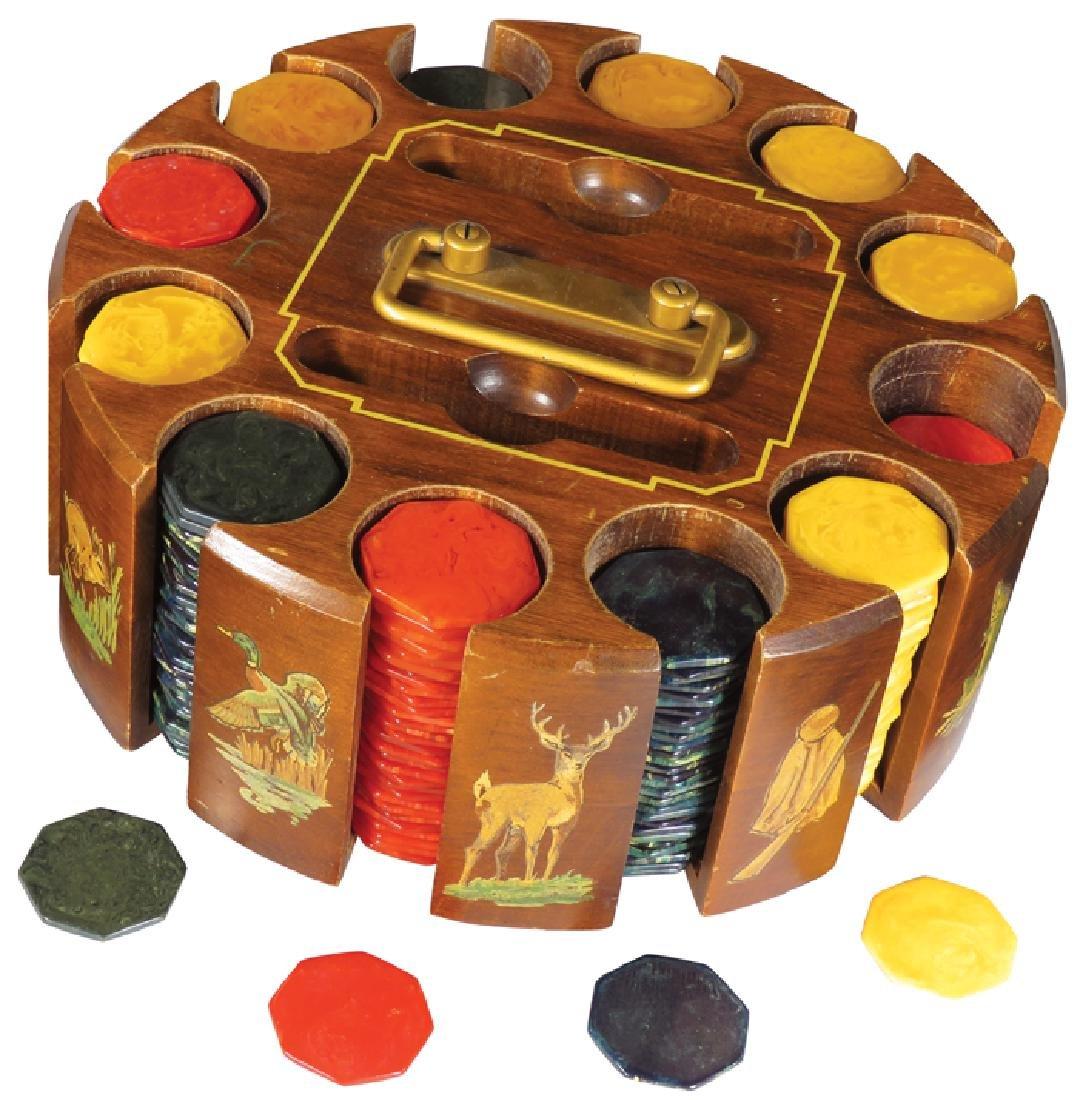 Vintage Hunting Motif Poker Chip/Card Caddy