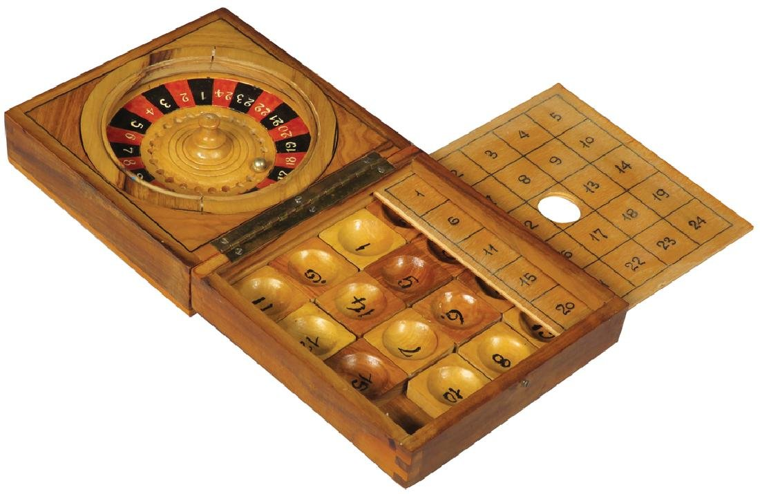 Miniature Roulette Game in Wood Box
